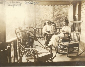 "Vintage Photo ""Ghost Of Maple Shade Cottage"" Woman Porch Rail Victorian Era Twig Furniture Found Vernacular Photo Handwritten Caption"