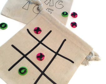 tic - tac -toe, muslin bags, travel game