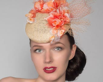 "Coral, Peach, Ivory Natural Silk Orchids Floral Headpiece Fascinator Ascot Derby Hat ""Nina"" FG2104 Mother of the Bride Wedding Spring Racing"