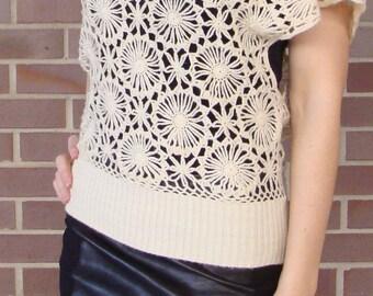 CREAMY IVORY CROCHET sweater slouch S M