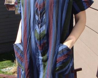 VINTAGE STRIPED SHIFT work day dress dark blue stripe xxl 46 bust 2X