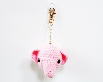 Pinky Baby Elephant Keychain -- Pink Crochet Elephant Cute Kawaii, Ready to Ship