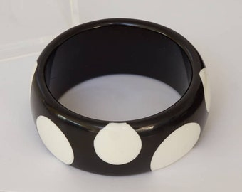 POLKA DOT BANGLE - Classic black and white polka dot bangle - vintage black and white polka dot bangle