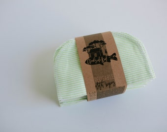 Cloth Diaper Wipes - Family Cloth - Baby Wipes Cloth Wipes Set of 20 Baby Wipes - Reusable Flannel Wipes (Green Stripe)
