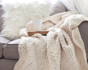 Chunky Knit Wool Throw Blanket Afghan / THE BRECKENRIDGE THROW / Cozy Home Decor Soft Blanket