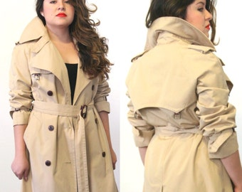 Etienne Aigner  trench coat / double breasted lined jacket/ 1970s/ small/ medium/ large/ extra large