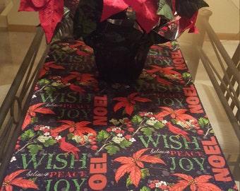 Christmas Table Runner, Black and Red Christmas Runner