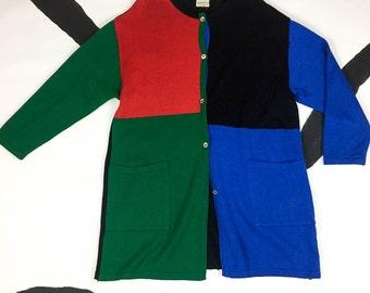 80s Merimekko / Suomi / Finland / Oversize Color Blocked Cardigan Sweater / Knit / Primary Colors / Pockets / Minimalist / Medium / Duster