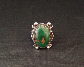 Sterling silver and natural turquoise ring
