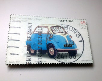 "Postage Stamp Art Cars BMW Isetta 300 - 6.5"" x 4"" x 3/8"""