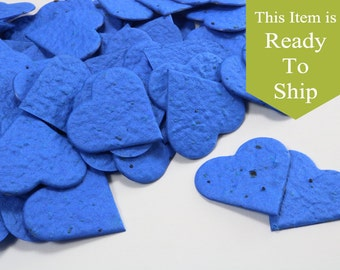 True Blue Plantable Seed Paper Confetti Hearts - READY-TO-SHIP - Wedding Favors, Bridal Shower Favors, Baby Shower Favors, Party Gifts