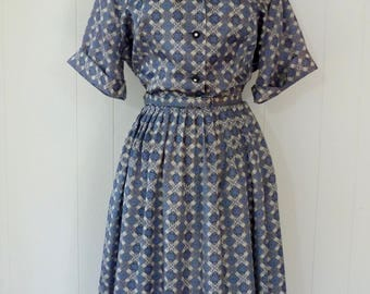 50's Deadstock Sears Dress Blue Grey Rhinestone Button Front Belted Cuffed Sleeve Collar Full Skirt Shirtdress Plus Size XL