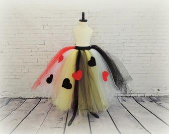Girls floor length Queen of Hearts tutu skirt, Girls halloween costume, Alice in wonderland tutu, dress up tutu, queen of hearts costume