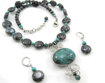 Women's Jewelry Set, Gemstone Necklace and Earrings Set, Turquoise Wire-Wrapped Butterfly, Black & Blue, Beaded Necklace