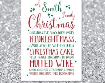 Christmas Print, Personalised Family Christmas Traditions, Printable Gift, Wall Art, Christmas Memories Decoration