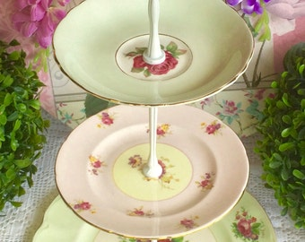 3 tier Pink and Green Cake Stand Johnson Bros, Foley and Paragon