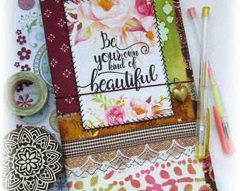 OOAK Fauxdori, Fabric Collage Midori, Traveler's Notebook, Free Insert!