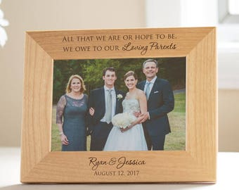 Personalized Parents of the Bride & Groom Picture Frame: Wedding Gift for Parents, Parents Wedding Thank You, Parents Wedding Keepsake