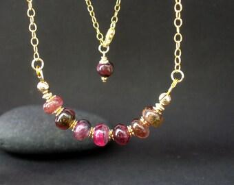 Rainbow Tourmaline 7mm Rondelles 14kt Gold Filled Chain Necklace, Pink Tourmaline Necklace
