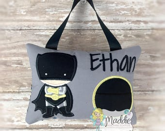 Personalized Boys Tooth Fairy Pillow Embroidered, Keepsake Tooth Fairy Pillow, Superhero Tooth Fairy Pillow