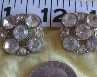 Vintage Rhinestone Buttons and Screwback Earrings