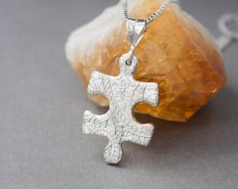 Puzzle piece Silver necklace , Autism Awareness , Silver Puzzle Pendant , Fine silver Puzzle piece , Puzzle piece , Minimalist , Autism