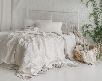 Flax Bedding Linen Set... Linen Duvet Cover and Two Pillowcases King, Queen, Full, Twin, Stonewashed Eco friendly - Custom size