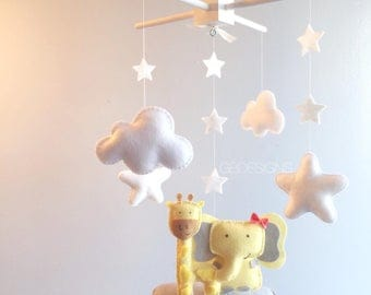 Baby Crib Mobile - Baby Mobile elephant -giraffe mobile - baby girl Mobile - Neutral Mobile - You can Customize your colors :)