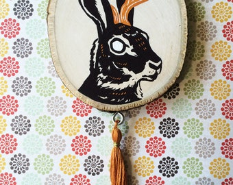 Jackalope Painting with Tassel on Wood OOAK