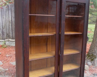 Early 1900u0027s Antique Oversized Glass Door BOOKCASE MAHOGANY Carved Scrolled  PICKUP Only