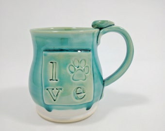 Turquoise Paw Print Love Mug, Love Typography Coffee Cup, Ceramic Pottery Ready to Ship