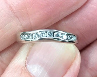 Beautiful IMPOSSIBLE To Find Curved 14KT White Gold And 27 Points Of Diamonds Wedding Band Right