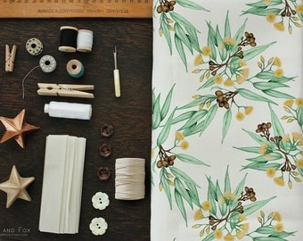 Australian Botanical Fabric Eucalyptus Leaves and Gumnuts in Pale Green and Yellow Pastel Printed Cotton Fabric YARDAGE | Ships from USA
