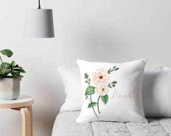 Personalized Watercolor Rose Peach Ivory on White Cushion Cover Floral Pillow Slip in Linen Cotton | Made to Order | Ships in 4 weeks