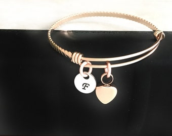 Rose Gold Remembrance Heart Urn Bangle Bracelet  - Custom - Personalized - Cremation Jewelry - Memorial Jewelry - Ashes - Sympathy Gift