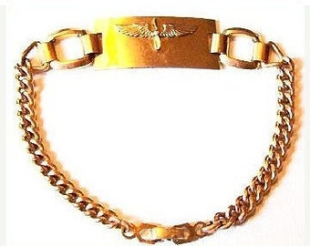 "Pilot Wing Link Bracelet Gold Filled Signed 1/20th 12K Kesterman WWII Aviation 7"" Vintage"
