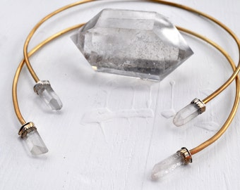 Child of Crystals // Raw Quartz Crystal Chakra Choker Collar