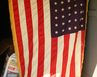 48 Star Flag, Vintage American Flag, Old Flag, Old Glory, Labor Day, Flag with a Pole, Flag Pole