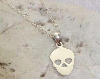 Silver Sugar Skull Necklace - Solid Sterling 925 Mexican Calaveras Day of the Dead All Souls Day Pendant Charm Goth Ladies