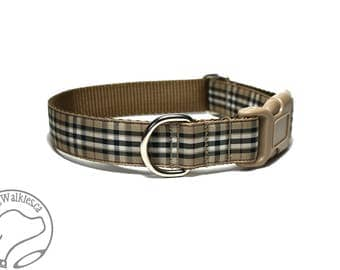 "Gold Pride of Scotland Tartan Dog Collar - 1"" Wide (25mm) - Side Release or Martingale Dog Collar - Choice of Size and Style"