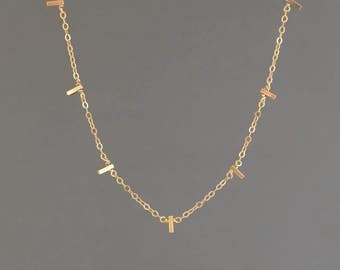 SMALL Seven Vertical Bar Necklace in Gold Fill Sterling Silver and Rose Gold Fill