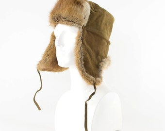 Vintage Fur Trapper Warm Winter Hat Aviator Style Ear Flaps Medium 56cm 22""