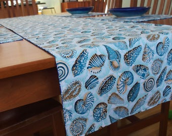 Nautical Table Runner with Sea Shells and Coral in Turquoise, Aqua and Royal Blue, Wide Tablerunner, Reversible, Beach Table Runner, 20 x 84