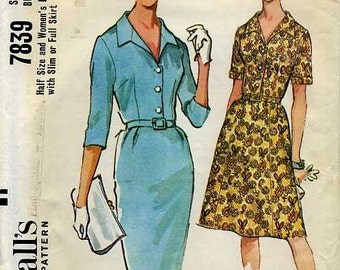 1960s Classic Day Dress Pattern McCalls 7839 Size 18 1/2