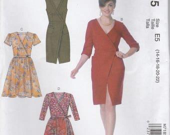Modern Wrap Dress Pattern McCalls 7185 Sizes 14 - 22 Uncut