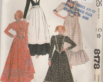 Prairie, Pilgrim, Colonial, Victorian Costume Dress Pattern McCalls 8178 Sizes 12-16 Uncut
