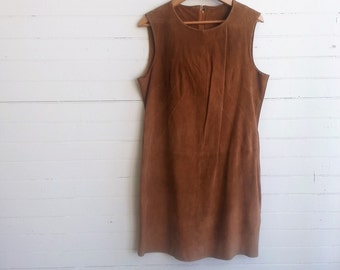 SALE Vintage suede dress, suede tunic dress, medium, large