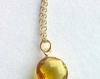 Yellow Gold Necklace. Amber Glass Stone Necklace. Everyday Necklace. Wedding Jewelry. Simple. Modern.