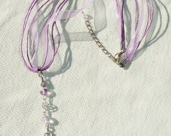 Purple Goddess Gemstone Pentagram Ribbon Necklace