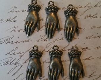6 PIECES Bronze Hand Charm pendant Victorian Vintage Hand